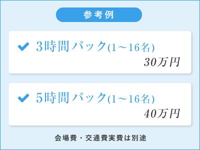 参考例 3時間パック(1~16名)30万円/5時間パック(1~16名)40万円 会場費・交通費実費は別途